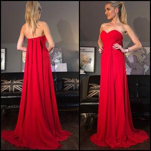 Faviana Sweatheart Red Cape Train Prom Dress